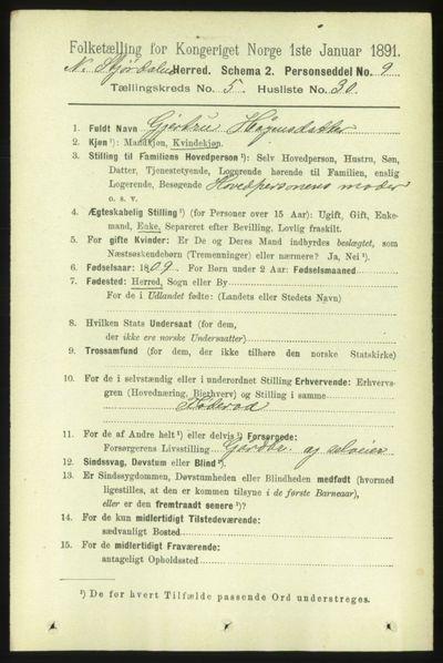 Image from object titled Folketelling 1891 - Nedre Stjørdal - personsedler - side 2193