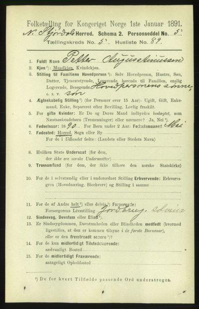 Image from object titled Folketelling 1891 - Nedre Stjørdal - personsedler - side 2489