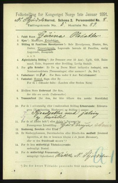 Image from object titled Folketelling 1891 - Nedre Stjørdal - personsedler - side 2492