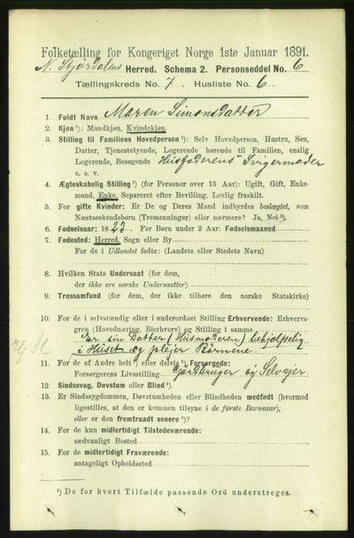 Image from object titled Folketelling 1891 - Nedre Stjørdal - personsedler - side 3111