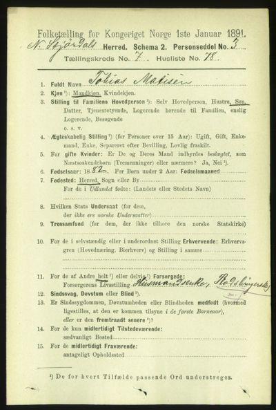 Image from object titled Folketelling 1891 - Nedre Stjørdal - personsedler - side 3451