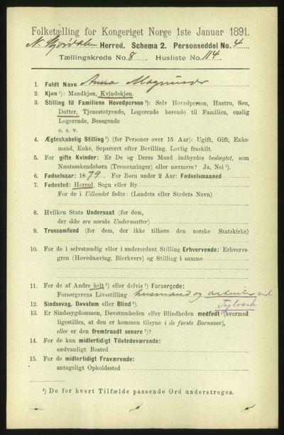 Image from object titled Folketelling 1891 - Nedre Stjørdal - personsedler - side 4605