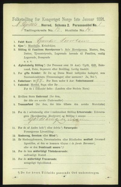 Image from object titled Folketelling 1891 - Nedre Stjørdal - personsedler - side 6285