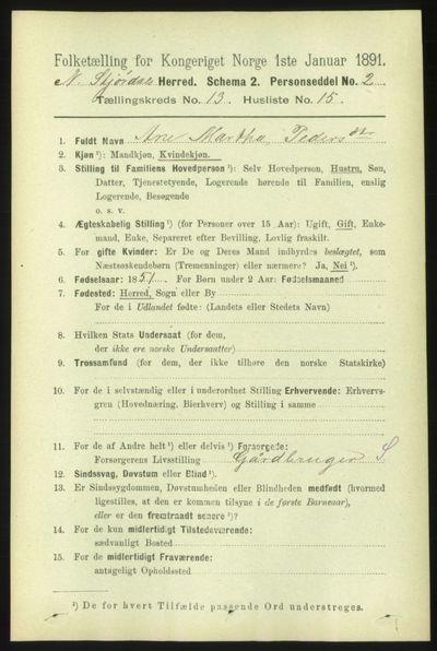 Image from object titled Folketelling 1891 - Nedre Stjørdal - personsedler - side 6296