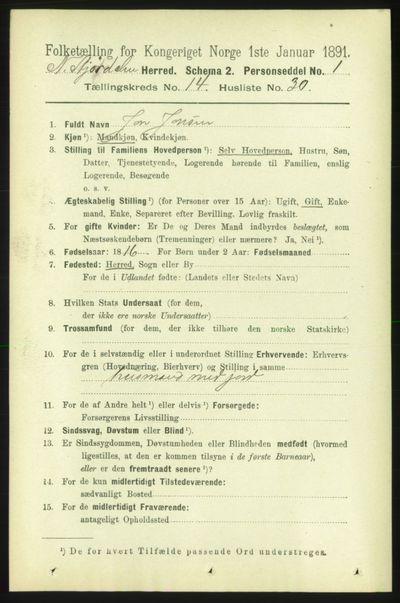 Image from object titled Folketelling 1891 - Nedre Stjørdal - personsedler - side 6702