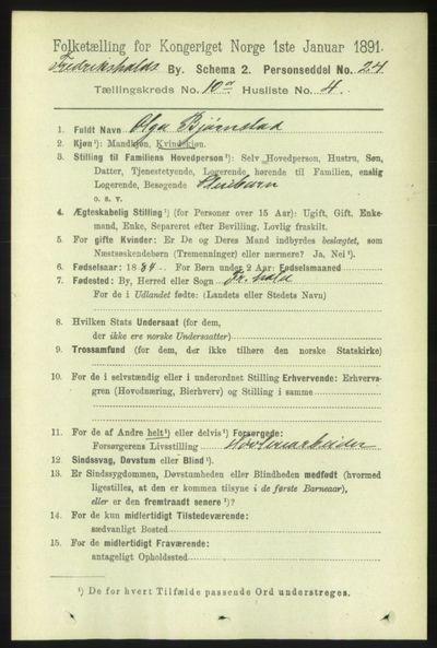 Image from object titled Folketelling 1891 - Fredrikshald - personsedler - side 7040