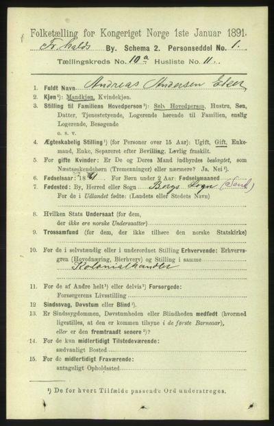 Image from object titled Folketelling 1891 - Fredrikshald - personsedler - side 7122