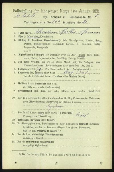 Image from object titled Folketelling 1891 - Fredrikshald - personsedler - side 7210