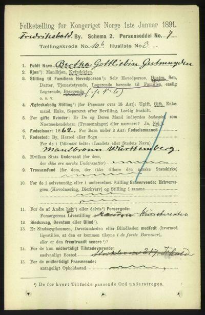 Image from object titled Folketelling 1891 - Fredrikshald - personsedler - side 7380