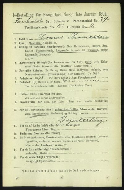 Image from object titled Folketelling 1891 - Fredrikshald - personsedler - side 7458