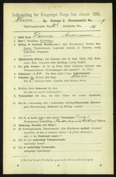 Image from object titled Folketelling 1891 - Fredrikshald - personsedler - side 7489
