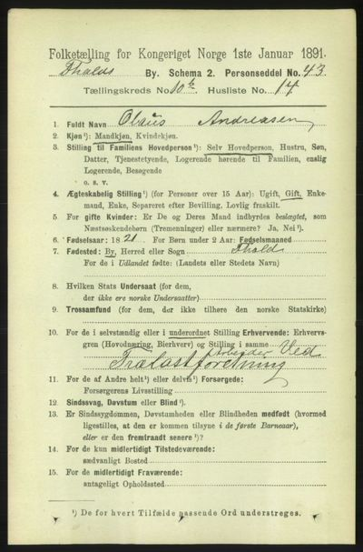 Image from object titled Folketelling 1891 - Fredrikshald - personsedler - side 7523