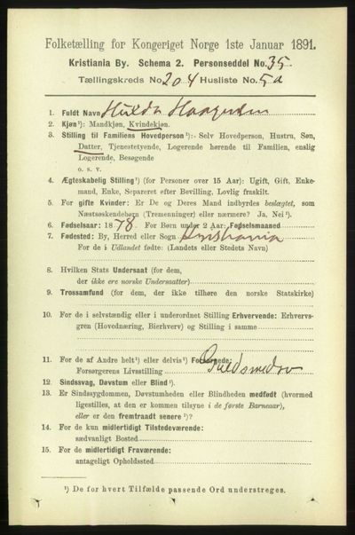 Image from object titled Folketelling 1891 - Kristiania - personsedler - side 123235