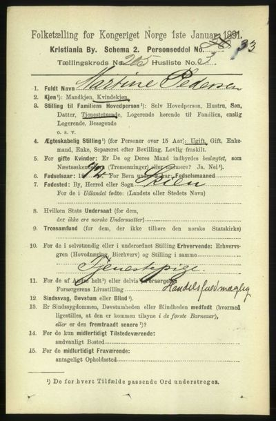 Image from object titled Folketelling 1891 - Kristiania - personsedler - side 123417