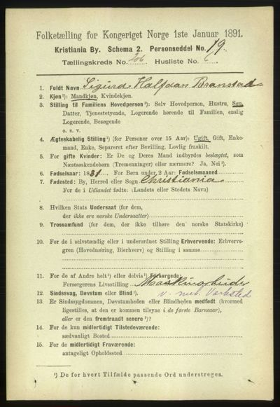 Image from object titled Folketelling 1891 - Kristiania - personsedler - side 124045