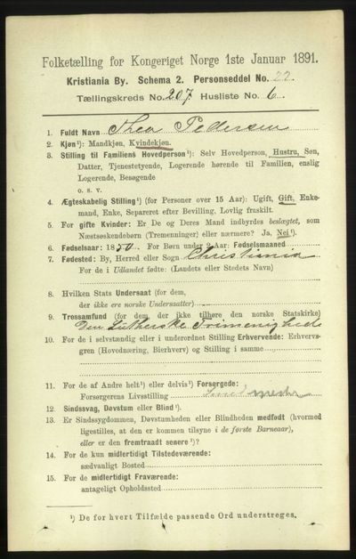 Image from object titled Folketelling 1891 - Kristiania - personsedler - side 124538