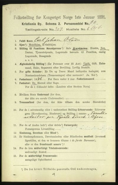 Image from object titled Folketelling 1891 - Kristiania - personsedler - side 124596