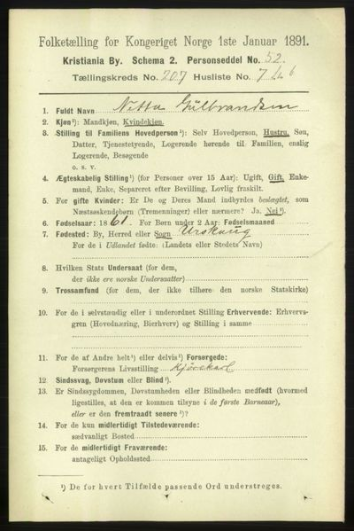 Image from object titled Folketelling 1891 - Kristiania - personsedler - side 124656