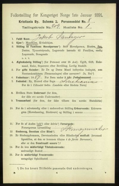Image from object titled Folketelling 1891 - Kristiania - personsedler - side 125089