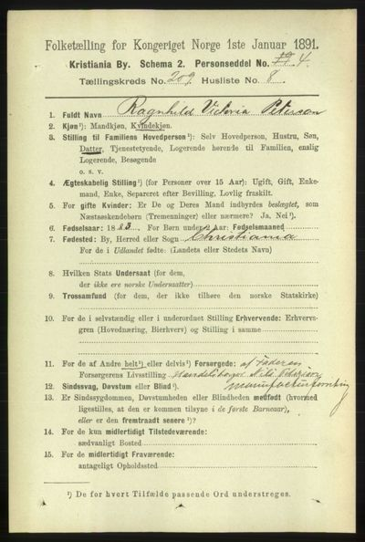 Image from object titled Folketelling 1891 - Kristiania - personsedler - side 125263