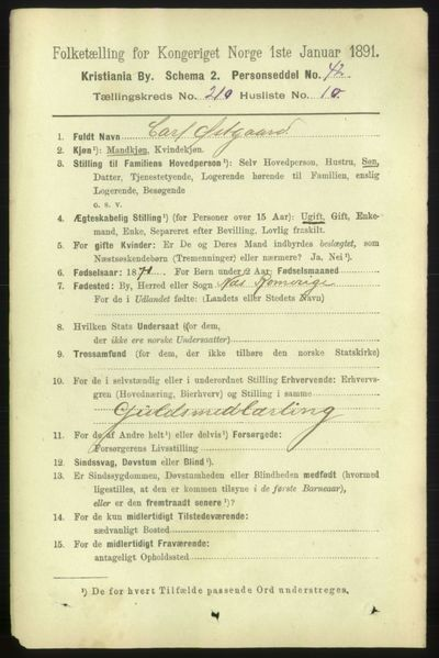 Image from object titled Folketelling 1891 - Kristiania - personsedler - side 125853
