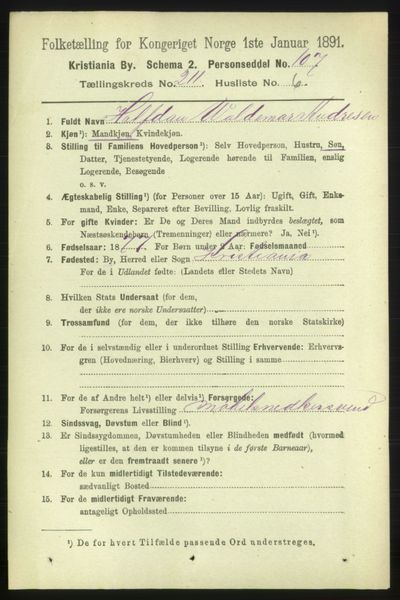 Image from object titled Folketelling 1891 - Kristiania - personsedler - side 126100