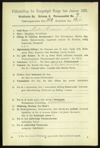 Image from object titled Folketelling 1891 - Kristiania - personsedler - side 126780