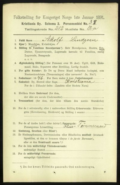 Image from object titled Folketelling 1891 - Kristiania - personsedler - side 126809