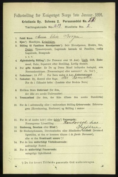 Image from object titled Folketelling 1891 - Kristiania - personsedler - side 127053