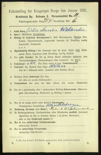 Image from object titled Folketelling 1891 - Kristiania - personsedler - side 127496