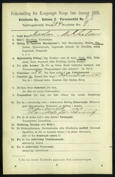 Image from object titled Folketelling 1891 - Kristiania - personsedler - side 127692