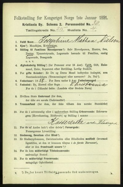Image from object titled Folketelling 1891 - Kristiania - personsedler - side 127865