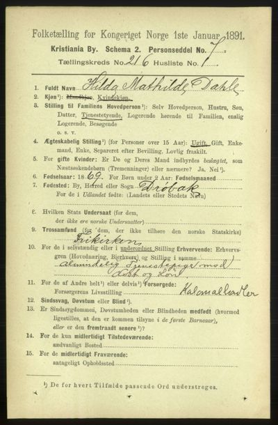 Image from object titled Folketelling 1891 - Kristiania - personsedler - side 128027