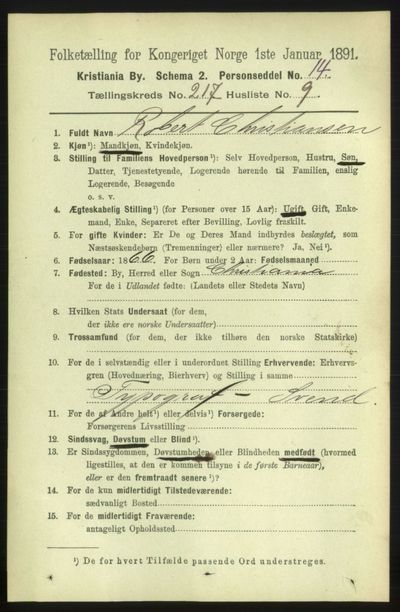 Image from object titled Folketelling 1891 - Kristiania - personsedler - side 128477