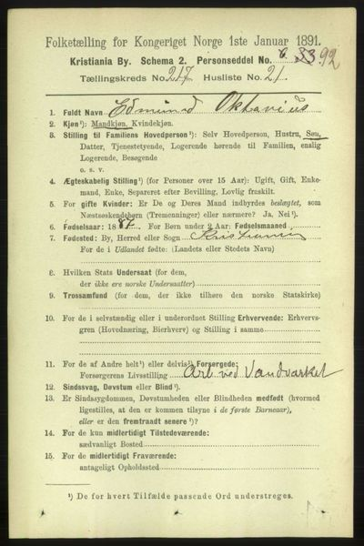 Image from object titled Folketelling 1891 - Kristiania - personsedler - side 128739