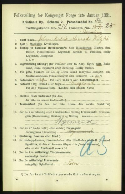 Image from object titled Folketelling 1891 - Kristiania - personsedler - side 128894