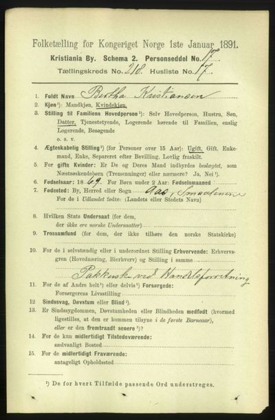 Image from object titled Folketelling 1891 - Kristiania - personsedler - side 129403