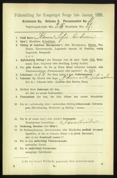 Image from object titled Folketelling 1891 - Kristiania - personsedler - side 129737