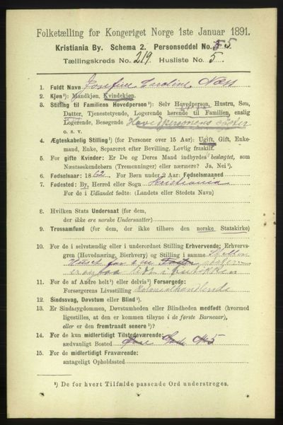 Image from object titled Folketelling 1891 - Kristiania - personsedler - side 130105