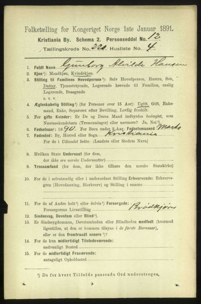Image from object titled Folketelling 1891 - Kristiania - personsedler - side 130726