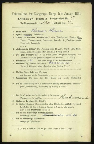Image from object titled Folketelling 1891 - Kristiania - personsedler - side 130753