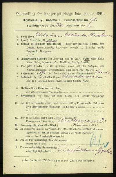Image from object titled Folketelling 1891 - Kristiania - personsedler - side 130809
