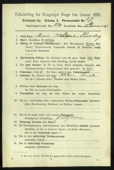 Image from object titled Folketelling 1891 - Kristiania - personsedler - side 131075