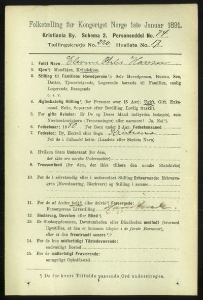 Image from object titled Folketelling 1891 - Kristiania - personsedler - side 131627