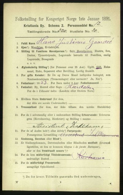 Image from object titled Folketelling 1891 - Kristiania - personsedler - side 131684
