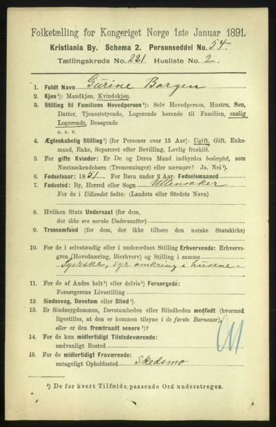 Image from object titled Folketelling 1891 - Kristiania - personsedler - side 131988