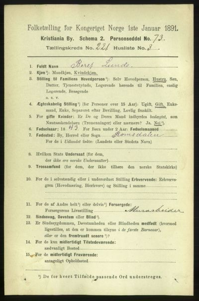 Image from object titled Folketelling 1891 - Kristiania - personsedler - side 132074