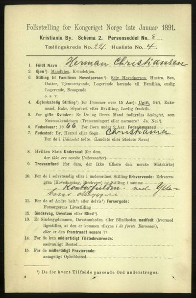 Image from object titled Folketelling 1891 - Kristiania - personsedler - side 132091