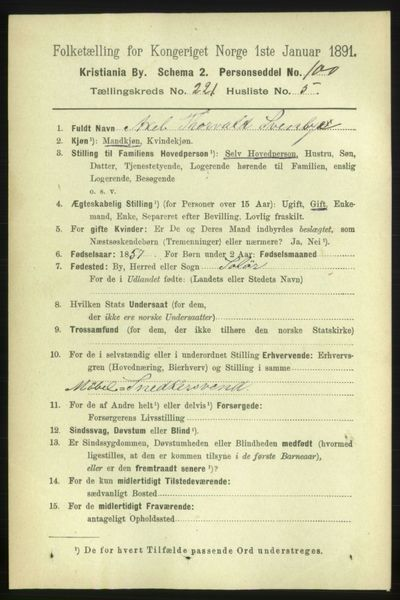 Image from object titled Folketelling 1891 - Kristiania - personsedler - side 132218