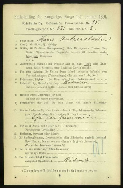 Image from object titled Folketelling 1891 - Kristiania - personsedler - side 132343